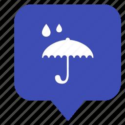 location, map, pointer, rain, umbrella icon