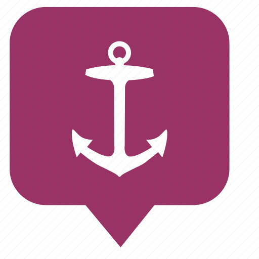 anchor, boat, location, place, pointer, sailor, ship icon