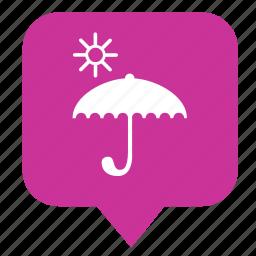 geo, pointer, rain, sun, umbrella icon