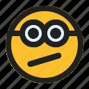 confused, emoji, emoticon, expression, face, minion icon