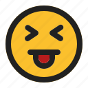 emoji, emoticon, expression, face, squinting