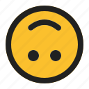 down, emoji, emoticon, expression, face, upside icon