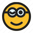 emoji, emoticon, expression, face, minion, winking icon
