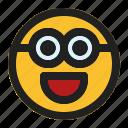 emoji, emoticon, expression, face, minion, smile