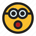 emoji, emoticon, expression, face, hushed, minion icon