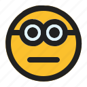 emoji, emoticon, expression, face, minion, neutral icon