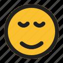 emoji, emoticon, expression, face, relieved icon