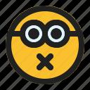 emoji, emoticon, expression, face, minion, shut, up icon
