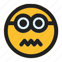 emoji, emoticon, expression, face, minion, sicksad icon