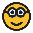 emoji, emoticon, expression, face, minion, smile icon