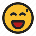 emoji, emoticon, expression, face, laughing, tired icon