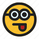 emoji, emoticon, expression, face, minion, tongue icon