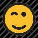 emoji, emoticon, expression, face, wink