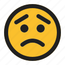 emoji, emoticon, expression, face, worried icon