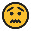 and, emoji, emoticon, expression, face, sick, worried