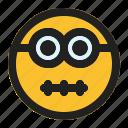 emoji, emoticon, expression, face, minion, mouth, zipper