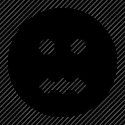 emoji, emoticon, expression, face, mouth, zipper icon