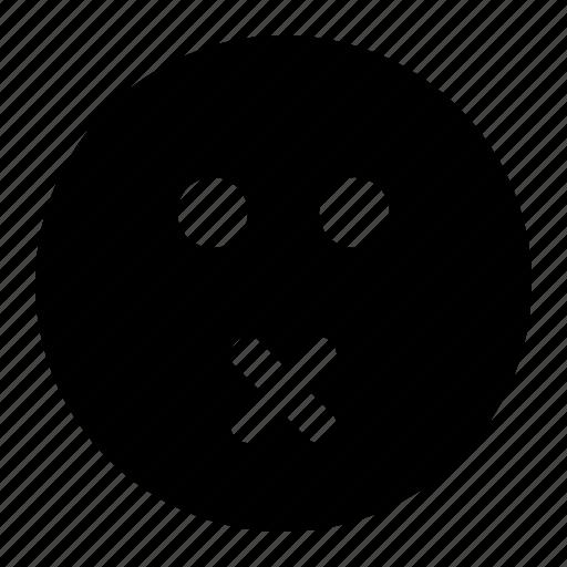emoji, emoticon, expression, face, shut, up icon