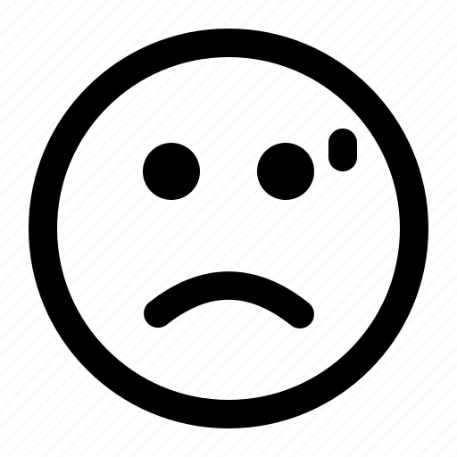 emoji, emoticon, expression, face, frowned, tired icon