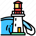 building, lighthouse, sea, tower