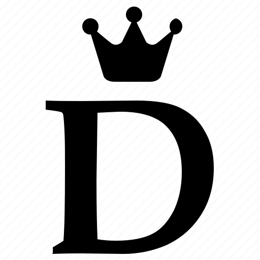 Alphabet, crown, d, english, letter, royal icon