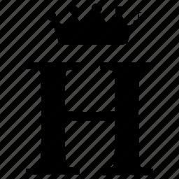 alphabet, crown, english, h, letter, royal icon