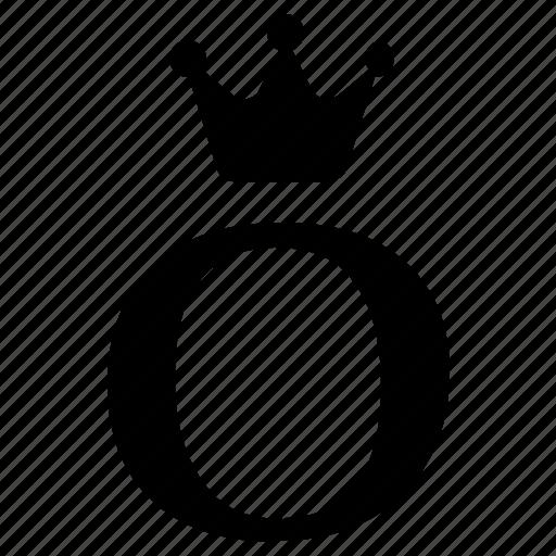 alphabet, crown, english, letter, o, royal icon
