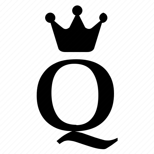 alphabet, crown, english, letter, q, royal icon