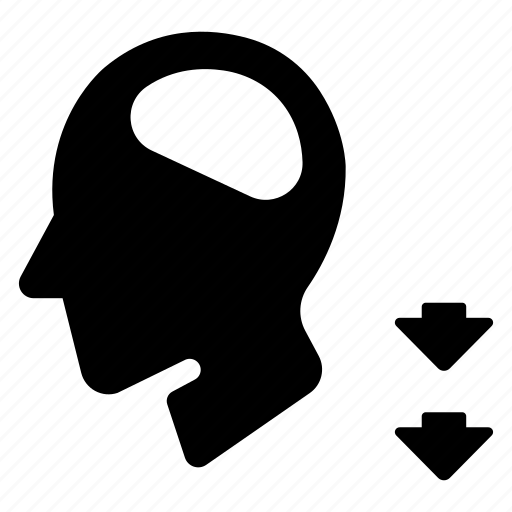 Decrease, down, head, loss, person, wisdom icon - Download on Iconfinder