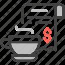 online money service, payment, finance, coffee, buy, bill, receipt