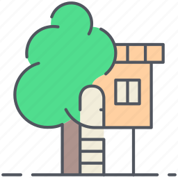 children, forest, home, house, nature, tree, tree house icon