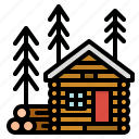 buildings, cabin, home, hous, wood icon