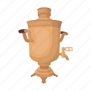 apparatus, boiling water, device, heating, russian, samovar, tea icon