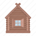 building, house, hut, log cabin, russian, traditional, wooden icon