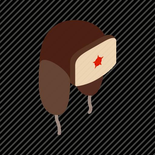 cap, ear-flap, fur, hat, isometric, russian, winter icon