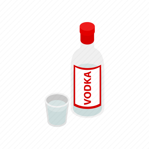 alcohol, beverage, bottle, glass, isometric, liquid, vodka icon