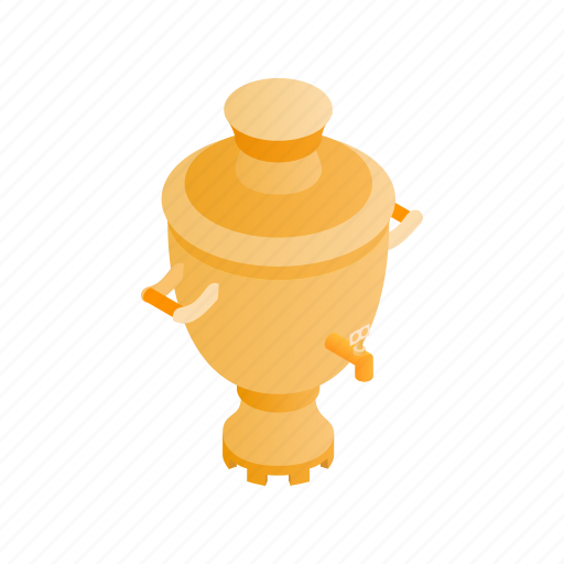 isometric, kettle, old, russian, samovar, tea, traditional icon