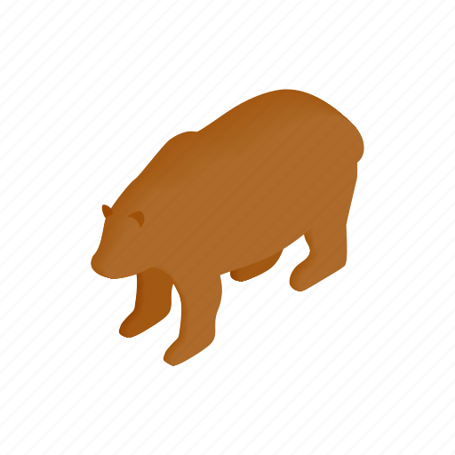 animal, bear, brown, fur, isometric, mammal, wild icon