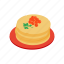 caviar, food, gourmet, isometric, meal, pancake, red