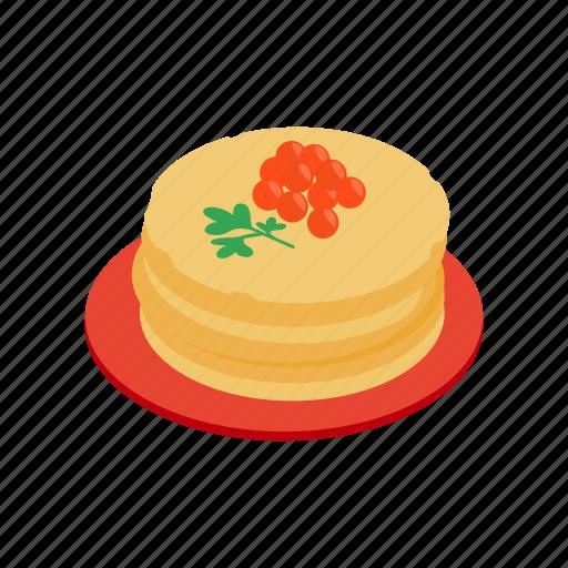 caviar, food, gourmet, isometric, meal, pancake, red icon