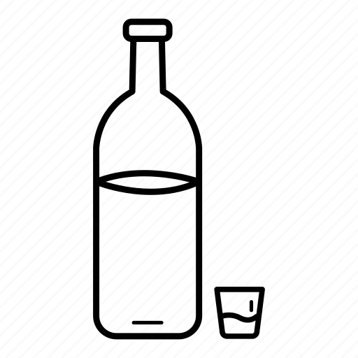 alcohol, alcoholic drink, bottle, drink, glass, vodka, water icon