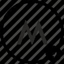 m, metro, metropolitan, moscow, russia, transport icon