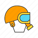 gas mask, head, helmet, pollution, rescue, respirator, safety equipment icon