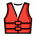 boating, float, jacket, life, preserver, vest icon