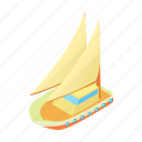 cartoon, ocean, sail, sea, ship, yacht, yachting icon