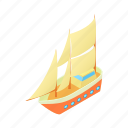cartoon, ocean, sail, sea, ship, yacht, yachting