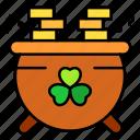 pot, gold, clover, coins, lucky