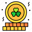 coin, gold, clover, lucky, money