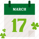 calendar, clover, march, patrick, st patricks day icon
