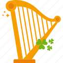 clover, harp, musical instrument, patrick, st patricks day icon